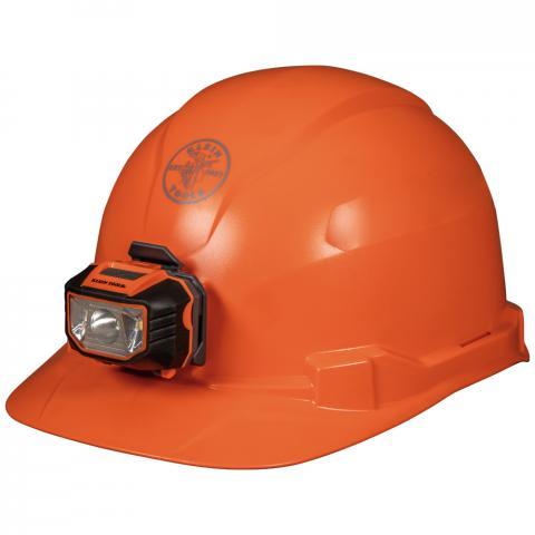 Hard Hat, Non-Vented, Cap Style with Headlamp, Orange